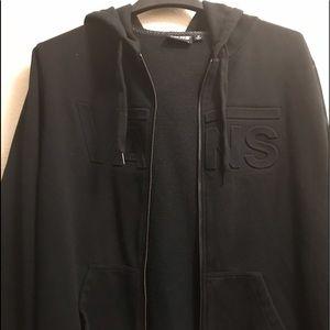 VANS Black Hooded Jacket. Size Medium. Embroidered